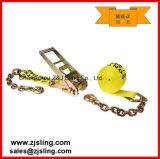 Trinquete Correa / Carga de amarre con extensiones W / Cadena de 4 X 20 'Yellow