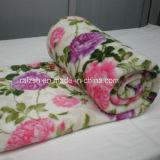 ホーム織物の花の印刷を用いる極度の柔らかい珊瑚の羊毛毛布