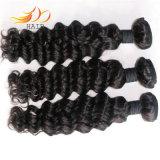 100%の7A加工されていないインドの毛の深い波のバージンの毛の拡張
