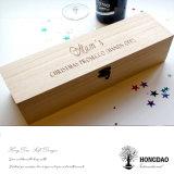 Tapa con bisagras color natural de Hongdao con el rectángulo de madera del vino del corchete para el solo _E del vino de la botella