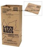Bolsa de papel respetuosa del medio ambiente del césped de la basura de la hoja de la bolsa de papel de Kraft de la basura