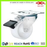 Weiße Plastikschwenker-Platten-Fußrolle (P106-30C075X32)