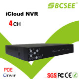 4CH 1080P H. 264 Icould Red HD CCTV Poe NVR con 3G / WiFi (B1004NB)