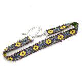 Colares Handmade do Choker do teste padrão da folha da flor do Crochet do estilo de Boémia