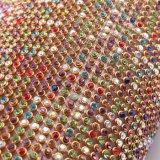 maglia variopinta di base metallica del Rhinestone dell'oro di 45*120cm per gli accessori dell'indumento