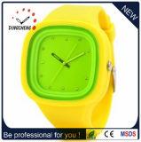 2015 montre-bracelet rectangulaire jaune Hodinky (DC-957) de gelée du silicone