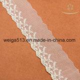 Tissu de maille de tissu de lacet de jacquard pour le tissu en ivoire de lacet de rayonne de la fleur 3D de vêtement