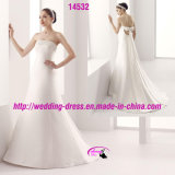 Роскошное шикарное платье венчания смычка сатинировки с Beaded