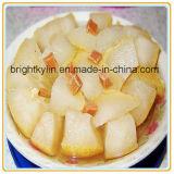 Metades enlatadas da pera no xarope claro na fruta enlatada
