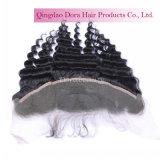 Venta al por mayor frontal del pelo humano de la Virgen del cordón peruano de la fábrica del pelo