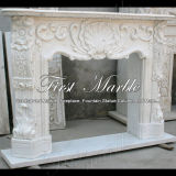 Cheminée blanche de Carrare pour la décoration à la maison Mfp-112