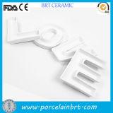 Plat de porcelaine en céramique de cadeau de plat fait sur commande de lettre