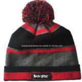 Chapeau mou de Beanie de ski de Hip-Hop de capuchon de Knit d'automne d'hiver barré par conception personnalisé par produit d'OEM