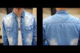 Kundenspezifischer Mens-langes Hülsen-Freizeit-Jeans-Denim-Hemd