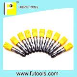 Herramientas que muelen de las flautas del carburo 2 de la bola del metal suave espiral de la nariz
