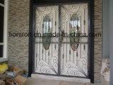 簡単な正方形の上の錬鉄の複式記入のドア