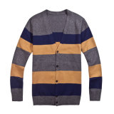 кардиган Knitwear 100%Cotton V-Neck Striped Knit Men с Button