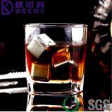 Whisky Stones - Ensemble de 4 avec des boîtes de rangement en plastique, des roches de refroidissement de whisky, des cubes de glace de vin réutilisables en acier inoxydable