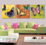 Cuadro moderno del arte de la pared de la decoración del sitio de la pintura de la mariposa de la pintura de pared de la venta caliente de 3 pedazos pintado en la decoración Mc-208 del hogar de la lona