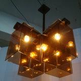 Lampada Pendant di vetro ambrata di caso LED dell'hotel dell'annata