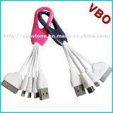 Las ventas calientes colorearon el cable de carga del USB del Keyring de Keychain del cable del USB