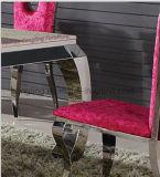 現代ホーム食堂の家具/ルイの黒い光沢の大理石のステンレス鋼のイタリアの椅子およびダイニングテーブルセット