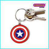 Preiswerter runder Schlüsselring, kundenspezifisches Decklack-Charme-Metall Keychain