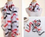 Stripes Printing (YKY1004)를 가진 Fashion Polyester Chiffon Silk Scarf 숙녀