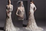 Vestido de casamento longo completo do laço da sereia de Vestidos dos vestidos nupciais das luvas, personalizado
