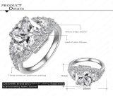 Presentes luxuosos enchidos chapeados quadrados novos originais da multa da jóia do tipo dos anéis de casamento do diamante do AAA CZ do anel do ouro branco do projeto de Yunkingdom