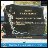 Черный памятник сердца ангела гранита, могила/мемориал/создателя кладбища
