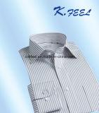 Het grijze en Witte Overhemd van de Streep met de Kraag van het Schema voor de Mens