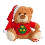 De leuke Beeldverhaal Gevulde Gift van Kerstmis van de Pluche draagt