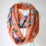 Lady Fashion Flower Printed Silk Chiffon Infinity Spring Scarf (YKY1095)