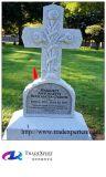 Pierre tombale blanche de croix de granit pour le cimetière