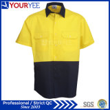 Les chemises de travail de force de sûreté salut court- les chemises de vêtements de travail de chemise (YWS117)