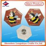 Prata do emblema do Pin de metal da abelha e emblema duro do esmalte