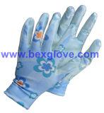 De Werkende Handschoen van de tuin, de Handschoen van de veiligheid, Bloem Afgedrukte Handschoen