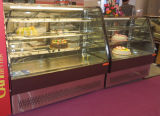 Mirror Stainless Steel Base Curved Glass Door Cake Display Showcase em Bakery Shop
