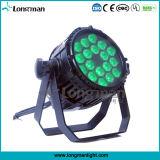 Outdoor IP65 Rgbaw 18 * 10W DMX LED de iluminação de palco para o concerto