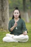 Vêtement Relaxed confortable de collier oblique de ressort de Chi de Tai de Taoism et de lin textile d'été