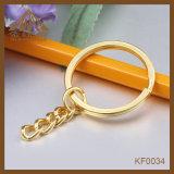 方法大きさの鎖が付いているニースの品質の金カラー平らなキーホルダー