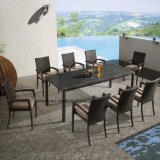 Rattan di vendita superiore del giardino di prezzi poco costosi esterni popolari di stile che pranza la Tabella stabilita di rettangolo della mobilia con la presidenza accatastabile da 8-10person (YTA362-1&YTD020-13)