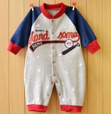 Romper infantil da luva longa com impressão bonito e bordado na roupa do bebê