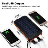 batería ligera brillante de la potencia del panel solar de 10000mAh LED