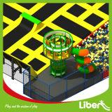 Kind-freier Sprung-Trampoline-Park mit Armkreuz-kletterndem Aufsatz und Tunnel-Plättchen