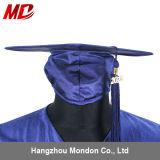 Marine brillante de chapeau et de robe de graduation de lycée