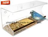 Nuovo alimentatore acrilico dell'uccello della finestra con il cassetto dell'acqua, i fori di scolo & l'imballaggio sicuro