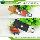 Disco de destello de cuero, cuero de la promoción USB, cuero realzado USB