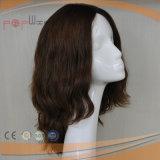 A melhor peruca amarrada do laço da cor de Remy do Virgin mão cheia castanha-aloirada européia ondulada natural